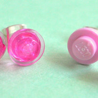 Pink Lego Earring Studs