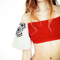 Hand painted colour blocking women cropped  Top, unique OOAK, same top in different fabrications coming soon