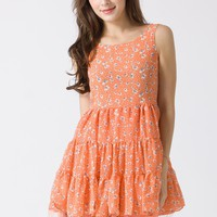 Coral Floral Print Sleeveless Tull Dress