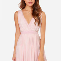 LULUS Exclusive Lady Artemis Pleated Peach Dress