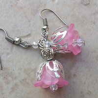 Pink flower earrings floral unique women jewelry