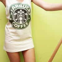 Starbucks Coffee Retro Art Style Off White Cream Tank Top Tunic T-Shirt Women Size S M