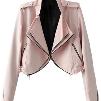 Baby Pink Zippered Cropped Jacket - OASAP.com