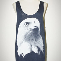 Eagle Navy Blue Tank Top Sleeveless Photo Art T-Shirt Size M