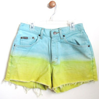 CARPE DIEM- High-Waisted Cutoff Shorts Dip-Dyed Teal and Yellow