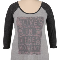 Live in the moment floral graphic print plus size tee