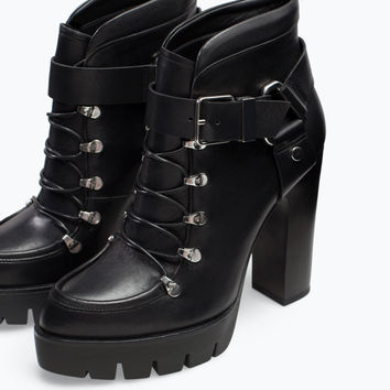 Leather high heeled platform ankle boot