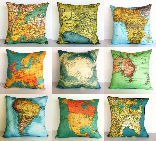Choose Your Direction: Vintage Map Pillows | Tickety Boo
