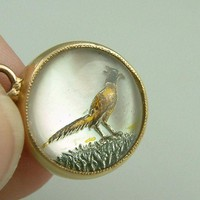 Fine Antique Victorian Era 14k Yellow Gold Essex Crystal Pheasant MOP Pendant Bird Vintage Estate Heirloom Jewelry