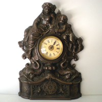 Working Antique Cast Iron Mantle Clock Cherubs &amp; Harps