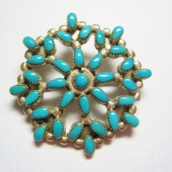 Turquoise Brooch Pendant Petit Point Sterling Charles Willie Navajo