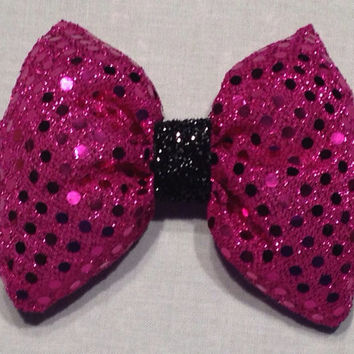 Shiny Pink Fabric Hair Bow; Full Shape, French Barrette