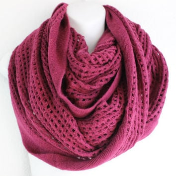 Plum Knit Scarf, Open Knit Infinity scarf, Chunky Scarf, Chunky Infinity scarf, Cozy and Warm infinity scarf for fall and winter
