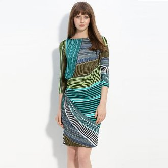 Asymmetric Border Jersey Dress