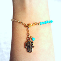 Turquoise Bracelet with Hamsa Hand and Chain - Hand of Fatima, Bohemian, Summer, Spring Fashion, Dainty Jewelry