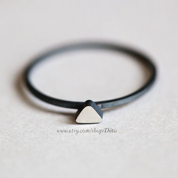 Size 8, Oxidized Sterling Silver, Handmade Jewelry, Triangle (silver stone) Ring, Thin Rings, Simple Rings, Jewelry, Ready To Ship!