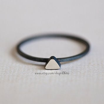 Size 7, Oxidized Sterling Silver, Handmade Jewelry, Triangle (silver stone) Ring, Thin Rings, Simple Rings, Jewelry, Ready To Ship!