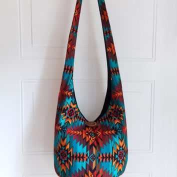 Hobo Bag, Sling Bag, Aztec, Southwestern, Geometric, Turquoise, Red, Orange, Yellow, Hippie Purse, Crossbody Bag