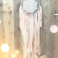 White, Peach, & Gold Lace Crochet Doily Fabric Dreamcatcher