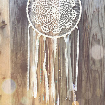 Off White, Amethyst, & Turquoise Beaded Crochet Doily Feather Dreamcatcher