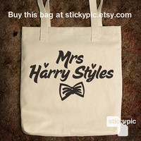 Cotton Tote Bag - Mrs Harry Styles - One Direction - (Accessories Laptop Bag PC Apple Macbook Mac Geekery)