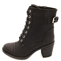 Lace-Up Chunky Heel Combat Boots by Charlotte Russe - Black