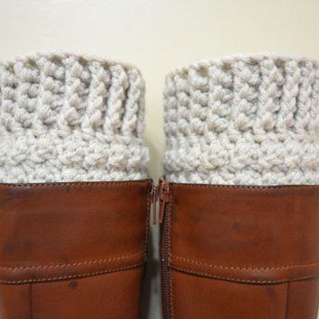 Chunky Boot Cuffs, Crochet Boot Cuffs, Wool Boot Cuffs, Linen Color