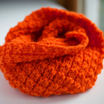 Fall Winter Solid Candy Color Pumpkin Orange Festive Knitted Wrap Around Infinity Scarf, Neckwarmer, Cowl