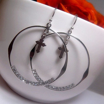 Silver Hoop Earrings With Cross Dangle And Cubic Zirconia - Sterling Silver Earwire
