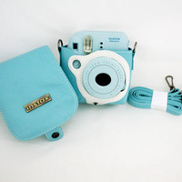 Fujifilm Instax Mini 8 Camera Protect Leather Case Bag Blue with Shoulder Strap