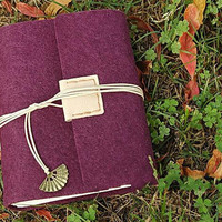 Handmade leather journal,simple purple