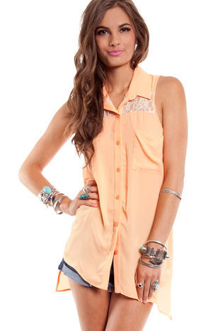 Candy Lace Button Up in Orange Sherbert :: tobi