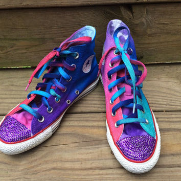 Jewel Tone Converse Blinged Bedazzled Tie Dye Converse HIGH TOP Ombre Hi Top Converse Shoes with Rhinestones