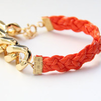 Arm candy - Gold Extra chunky chain with Orange leather braid Bracelet - 24k gold plated