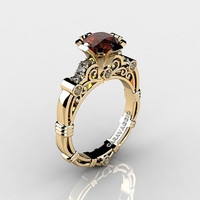 Art Masters Caravaggio 14K Yellow Gold Gold 1.0 Ct Brown and White Diamond Engagement Ring R623-14KYGDBRD