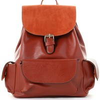 Classic Orange Flap Pockets Backpack