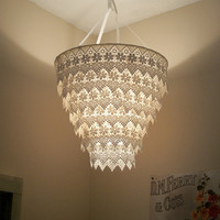 Venise Lace Faux Chandelier Pendant Lamp Shade Ivory