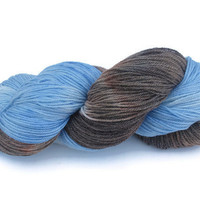 Hand Dyed Sock Yarn, Blue and Brown, Superwash, Bamboo, Nylon