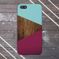 Teal x Dark Wood x Maroon Geometric Case for iPhone 5 iPhone 5S iPhone 4 iPhone 4S and Samsung Galaxy S5 S4 & S3