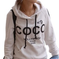 Icibgoods Women's Print Letter Hoodie Sweatshirt Pullover Hoodie White:Amazon:Clothing