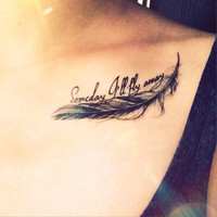 Someday I ll Fly Away Feather Tattoo - InknArt Temporary Tattoo -  pack collection quote anchor bird love body sticker wrist