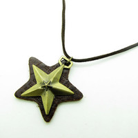 soft leather necklace,star pendant men leather necklace, women leather necklace   XL112