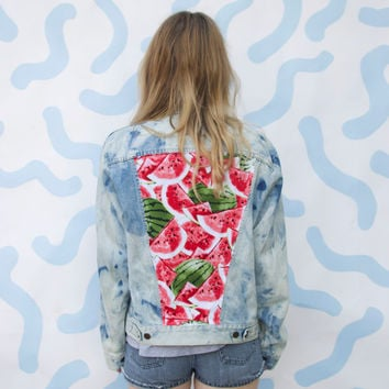 Bleach Dyed Watermelon Denim Jacket - M