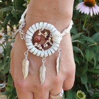 White Dream Catcher Bracelet Suede and Linen Adjustable Goldstone and Brass - Dreamcatcher Jewellery