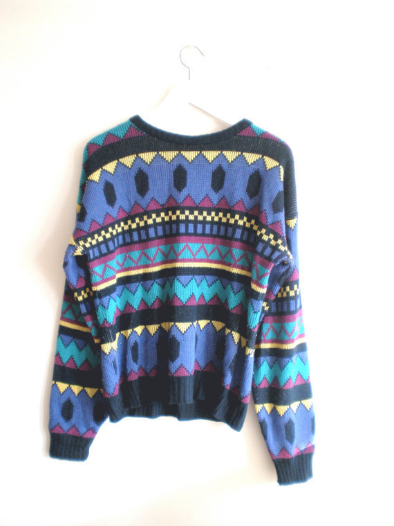 80's graphic aztec knit sweater size - M