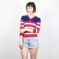 Vintage 70s Sweater Red White Blue Jumper Striped Knit Pullover 1970s Thin Lightweight Sweater Americana Patriotic Mod Hippie Top S Small