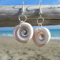 Seashell Heart Shaped Earrings-Beach Jewelry, Mermaids, Surfer Girls, Beach Weddings, Bridesmaids Gifts, Ocean, Seashore Treasures