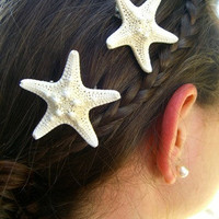 Starfish Hair Barrettes Starfish Hair Clips Small White Starfish-Set of 2