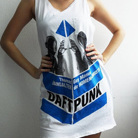 Daft Punk Electronic House Dance White Vest Tank Top Singlet Women One Size M L XL