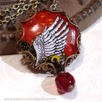 Bird Wing Picture Necklace - Art Necklace - Red Black Gold Neo Victorian Gothic Glass Picture Pendant Charm Jewelry